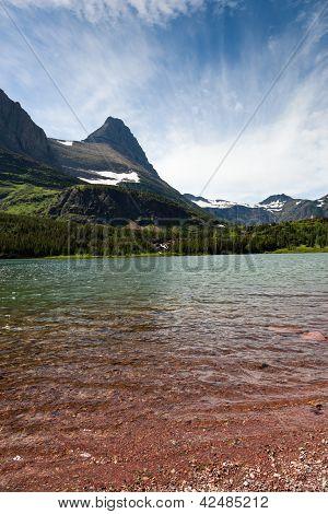 Redrock Lake And Mountains
