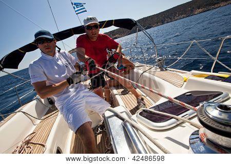 SARONIC GULF, GREECE - SEPTEMBER 25: Unidentified sailors participate in sailing regatta