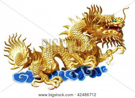 Chinese Style Dragon On White Background