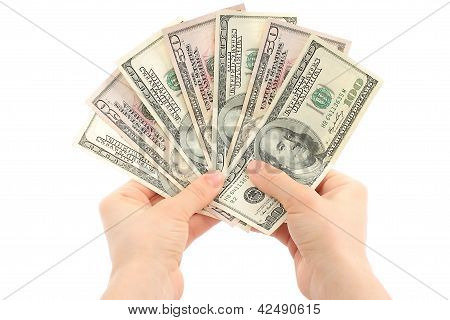 Woman hands with money