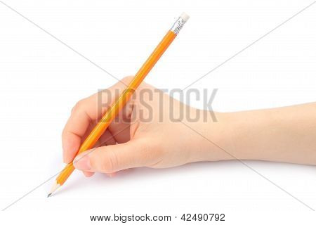 Woman hand with pencil