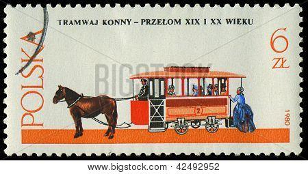 Poland - Circa 1980: A Stamp Printed In Poland, Show  Antique Horse Tram And A Coachman, Circa 1980