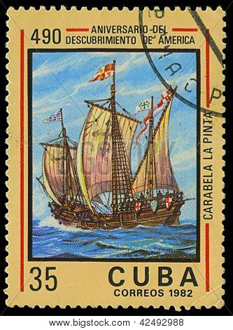 Cuba - Circa 1982: A Stamp Printed In Cuba Shows Ship La Pinta, Devoted Discovery Of America, Circa
