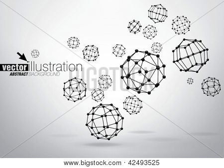 Composition of wireframe elements in the form of polyhedron with vertices in different perspective