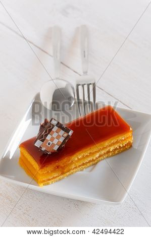 Sponge Cake With Caramel Cover And Caramel Nut