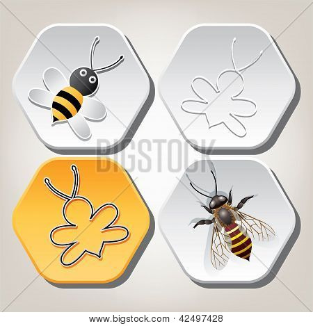 Vector Symbols Of Bee On Honeycell