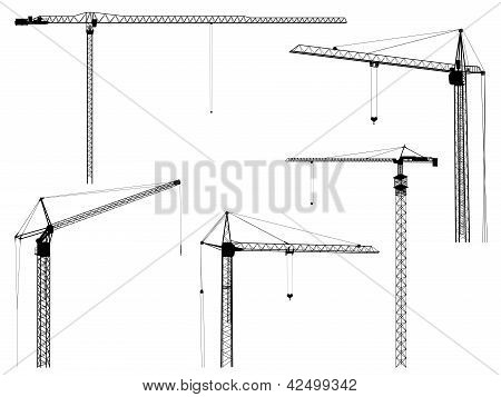 Vector Silhouettes Of Construction Crane Tower.