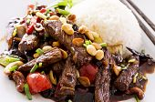 stock photo of chinese wok  - kung pao beef with rice - JPG