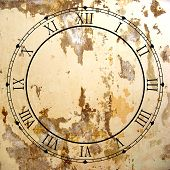 foto of roman numerals  - Illustrated clock face with Roman numerals and grunge texture - JPG
