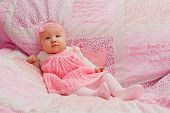 pic of bible verses  - Baby girl on pink blanket with Bible verses - JPG