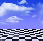 Black-and-white Pattern And Blue Sky poster