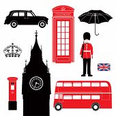 stock photo of postbox  - Set of London icons.