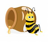 Vector Illustration Of Cartoon Bee Sitting About Honey Pot