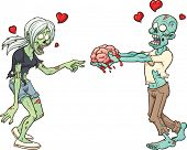 Zombie couple in love. Vector clip art illustration with simple gradients. Each element in a separat