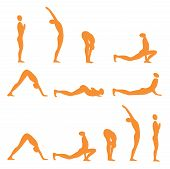 stock photo of surya  - Set of sun salutation yoga exercises - JPG