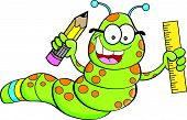 picture of inchworm  - Cartoon illustration of an inchworm holding a pencil and a ruler - JPG