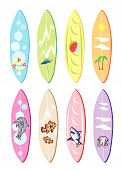 picture of waverunner  - An Illustration Collection of Surfboards with Eight Assorted Painting Designs Isolated on White Backgrounds - JPG