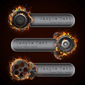 pic of ignite  - illustration of fire flame in cog wheel with copy space - JPG