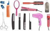 foto of clippers  - hair dresser realistic vector icons in various colors - JPG