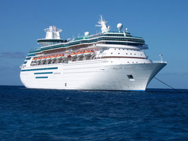 foto of cruise ship  - A cruise ship at anchor in the Bahamas. ** Note: Slight graininess, best at smaller sizes - JPG