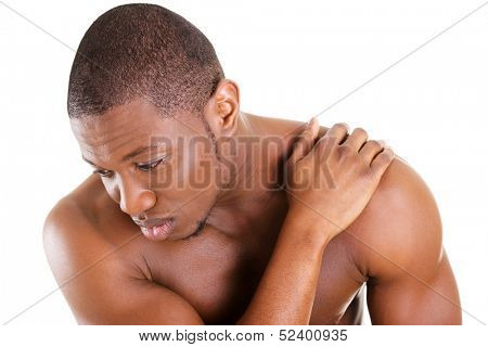 Young man with back pain , isolated on white