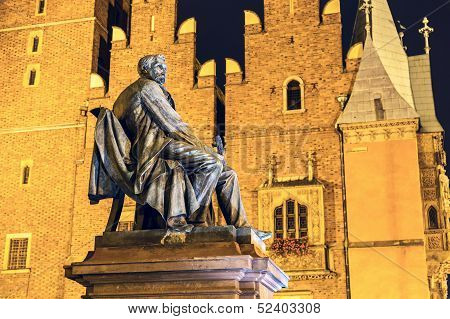 Count Aleksander Fredro Monument At Night