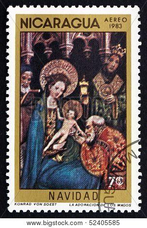 Postage Stamp Nicaragua 1983 Adoration Of The Kings, Christmas