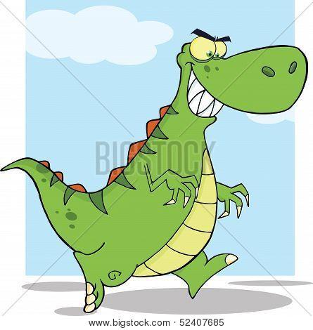 Angry Green Dinosaur Character Running