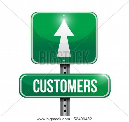 Customers Road Sign Illustrations Design