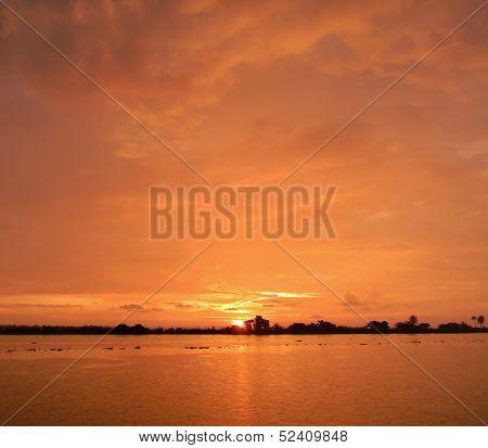 Orange sunset in Kerala, India