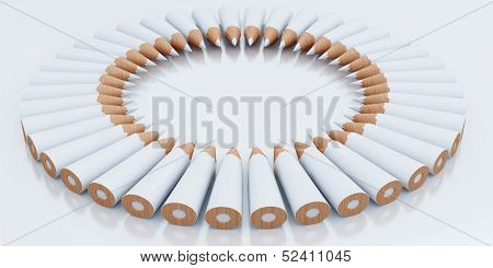 White pencils stacked circle on a light background
