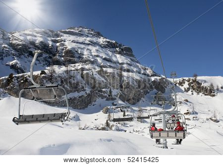 Skilifts in the mountains in Dolomiti, Civetta, Italy