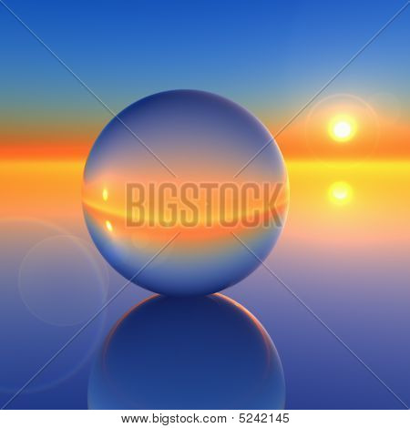 Abstract Crystal Ball On Future Horizon