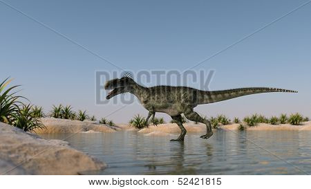 monolophosaurus running on lake shore