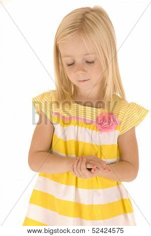 Young Blonde Girl Hands Folded Eyes Closed Praying Innocent