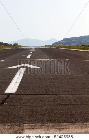 View of the landing track of Corfu airport Greece