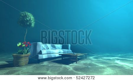 Living Room Underwater For Relaxation