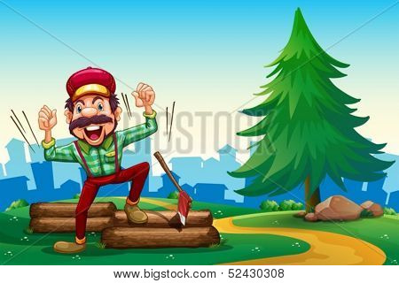 Illustration of a lumberjack shouting while chopping the woods