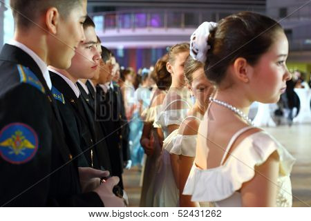 MOSCOW - FEB 22: Between the rows of young men and girls on the Kremlin Cadet Ball, on February 22, 2013 in Moscow, Russia.