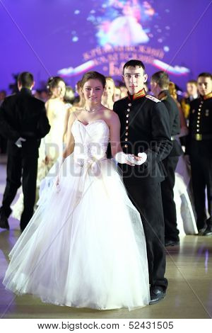MOSCOW - FEB 22: Couple of young people on Kremlin Cadet Ball, on February 22, 2013 in Moscow, Russia.