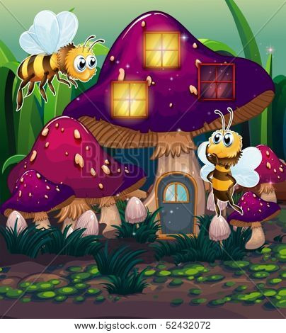Illustration of the dragonflies near the enchanted mushroom house on a white background