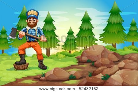 Illustration of a woodman holding an axe near the rocky area