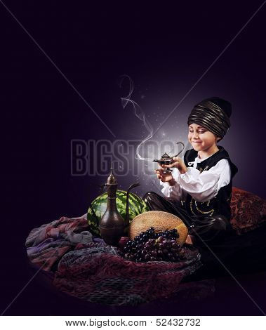 Magic Scene : Little Boy Causes Gin From Old Lamp