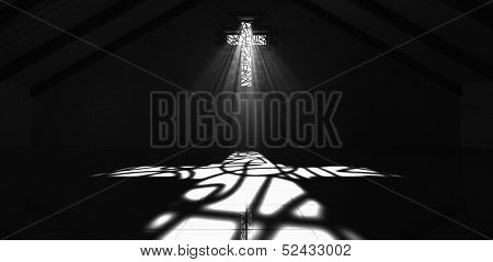 Stained Glass Window Crucifix Black And White