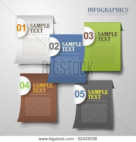 Vector Abstract 3D Sticky Infographics