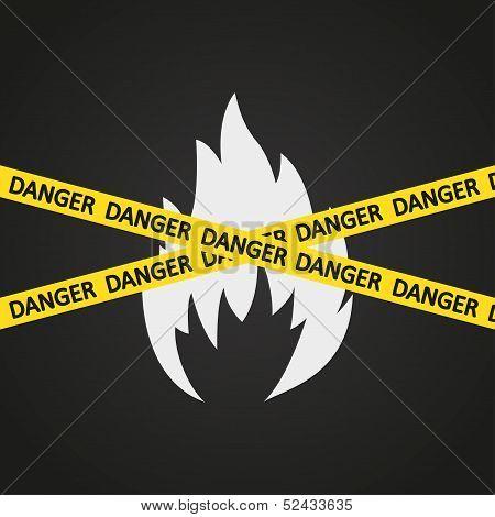 Vector illustration danger tape flammable