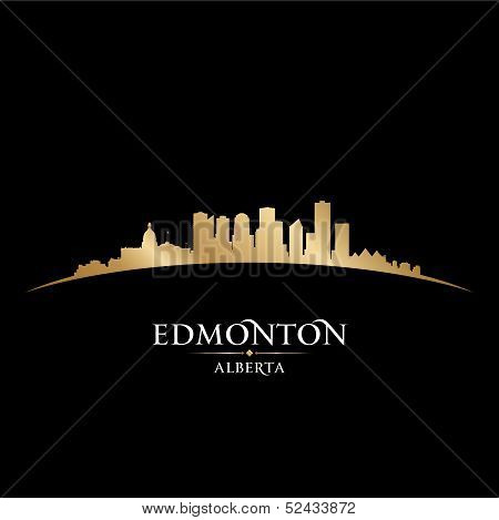 Edmonton Alberta Canada City Skyline Silhouette Black Background