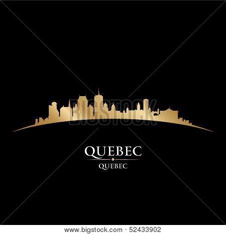 Quebec Canada City Skyline Silhouette Black Background