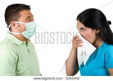 Sick Woman And Paranoia Man