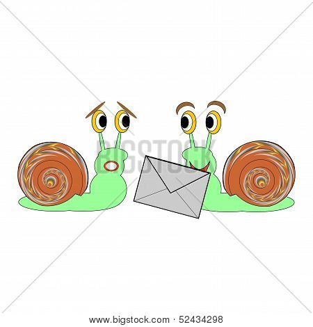 Two Funny Cartoon Snails With A Letter